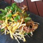 Asian inspired tempura soft-shell crab, green mango salad with tamarind dressing. YUM!