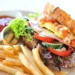Club sandwich with wood fire oven baked bread