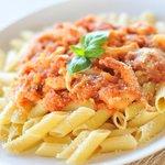 Homemade marinara sauce pasta