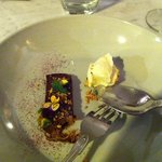 dark chocolate and pistachio pavé with juniper and milk icecream