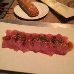 the divine sashimi with lemon sauce