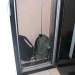 Den lilla hissen med vårat bagage i.