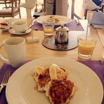 Breakfast - Ricotta Pancakes, Banana & Honeycomb Butter