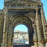 Roman archway leading into the theater in Orange, France.