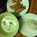 Green curry and spring rolls