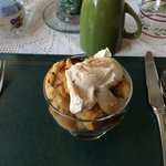 Starter of Pear and Apple Crumble with Cream