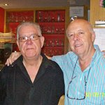 The proprietor and his sadly retired Barman.
