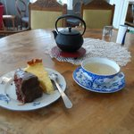 The teapot, cakes and my chosen cup