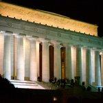 Glowing memorial at night!