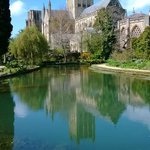 lovely spring pool with Cathedral background - unique in UK