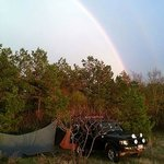 Rainbow after the storm over my campsite