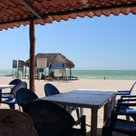 View the restaurant of boat tour headquarters on beach