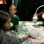 Science experiment with bubbles