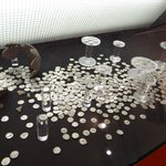 a hord of roman silver coins in wonderful condition