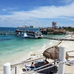 Hotel dos playas. Vista do pier saída para ilha das mujeres