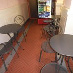 Small tables & chairs in the back!