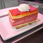 Layered Raspberry/Mango Mousse Cake