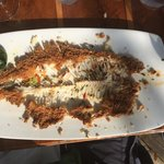 Apricot sauced fried flounder, after. Excellent, and worth the effort!