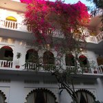 Beautiful Boganvillia cascade on side of hotel. Stunning.