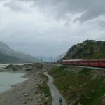 train close to Ospizio Bernina station