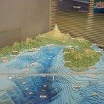Modell över topologin i vattnen och land utanför Mt Fudji