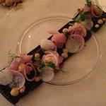 sashimi appetizer with aubergines
