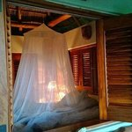 Shuttered off bedroom Palap Tigre with mosquito net