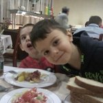 our lovely kids having dinner at hotel Dafovska restaurant