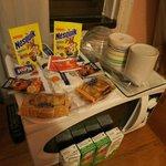 Завтрак (происходит в номере, вода кипятится в микроволновке)