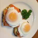 Eggs benedict with smoked salmon - not a bad job for a country pub brekky