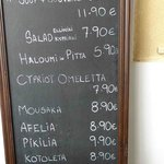 Indicative price list of dishes