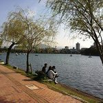 relaxing by the park lake