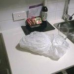 rubbish left on kitchen bench