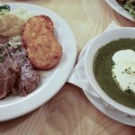 boiled beef Austrian style with apple-radish sauce, spinach puree on the side