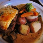 Grilled Filet Mignon with Gorgonzola Cheese in portobello mushroom demi-glace with Red potatoes
