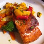 Five Spiced Seared Atlantic Salmon Fillet with red chile mango salsa and basmati rice