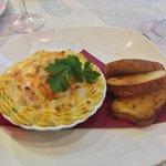 Prawns & Spinach au Gratin starter