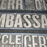 Theatre names embedded on the pavement in Duffy Square