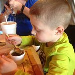 Jayden eating his swamp soup