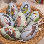 Painted Easter eggs on temporary display