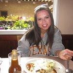 The wife enjoying her lobster omelete