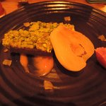 Great dessert: Pistachio, gingerbread flapjack with blood orange puree and glazed peer