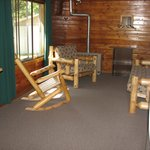 Cabin 7 living space and 30 feet from the lake.
