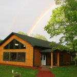 Our lodge with a rainbow!