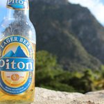 Piton Beer sitting on the edge of our private pool.