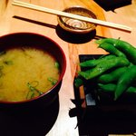Miso soup and edamame