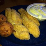 Catfish Filets, Cheese Grits and Hushpuppies