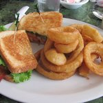 BLT with onion rings.