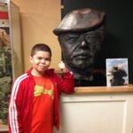 Saddam statue head display
