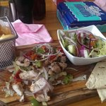 Chicken Kebab chips and salad